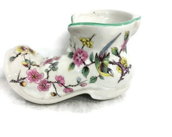 old foley boot, James kent Ltd, Staffordshire england, Chinese rose pattern, china boot, Flower & bird pattern, Green trim, TreasuresinTyme