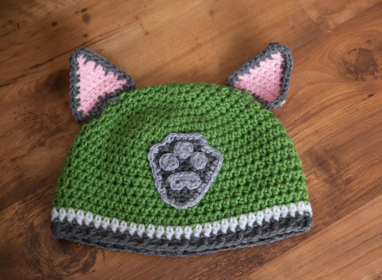 Crochet Hat Pattern Paw Patrol : Rocky PAW Patrol Hat Rocky Crochet Hat Paw by SewYarnAdorable