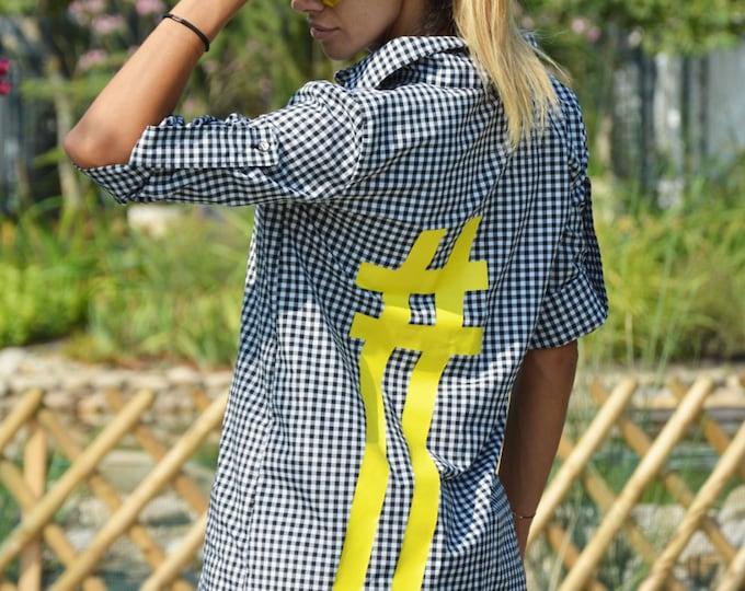 Sexy Shepherds Plaid Shirt With Hashtag, Oversize Elegant Long Shirt, Stylish Cotton Maxi Shirt by SSDfashion