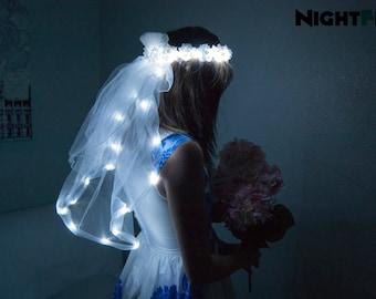 White Rose NightFlo w/ Light Up Veil for Wedding & Bachelorette Parties