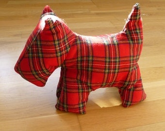Dougal Doorstop: a Scottie Dog Doorstop in Red Tartan