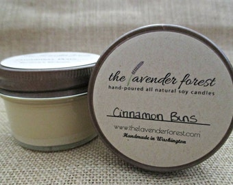 cinnamon buns // hand-poured 4oz jelly jar soy candle // natural soy wax // highly scented // rustic