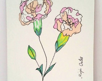 A4 Giclee print of original illustration of pink wild roses