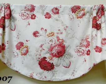 Waverly Norfolk Rose Floral Pattern Window Valance /Corded, Lined Valance/ Rod Pocket Scalloped Valance / Shabby Chic