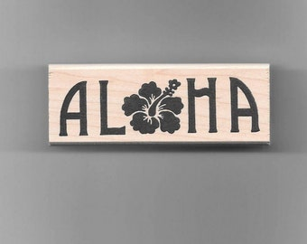 Aloha Hibiscus Rubber Stamp