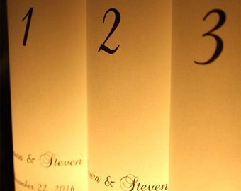 Wedding Candle Luminary - Table Number Wedding - Script Table Number- Table Number Ideas- Table Numbers- Wedding Luminary- Wedding Decor