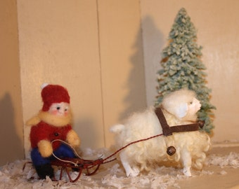 Wool sheep and sled