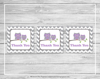 Owl Baby Shower Favor Thank You Tags - Printable Baby Shower Thank You Tags - Purple Owl Baby Shower - Owl Favor Tags - Owl Shower - SP136