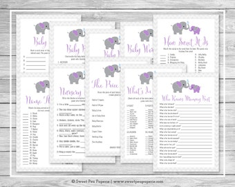 Elephant Baby Shower Games - 10 Printable Baby Shower Games - Purple and Gray Elephant Baby Shower - Baby Shower Games Package - SP116