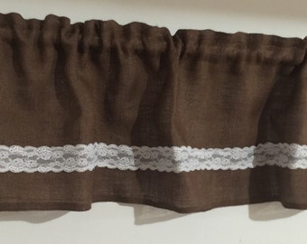 Chocolate Brown Burlap Valance With Lace Borders