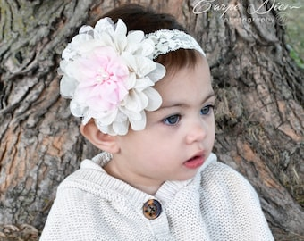 """1"""" ivory stretch lace heardband with ivory lace flower and detailed with soft pink (BUY 3 Get 1 FREE!!)"""