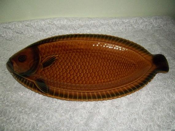 Fish platter sarreguemines fish serving dish majolica for Fish serving platter