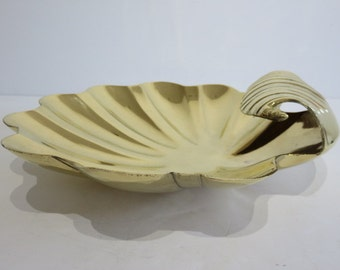 Polished Brass Mid-Century Modern Sea Shell Bowl.