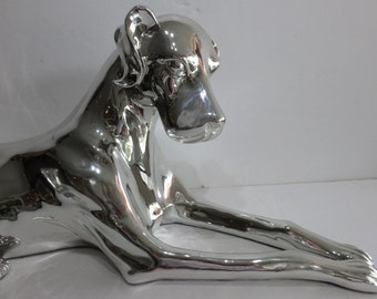 Modern Sculpture Of Life Size Silver Boxer.