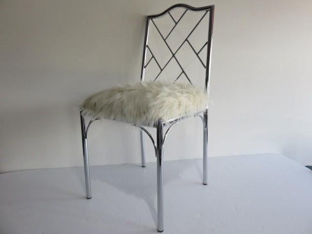 Mid Century Modern Chrome Chinese Chippendale Chair With Faux Grizzle Fur.