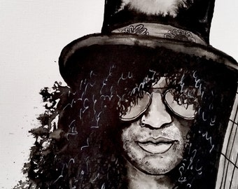 "Slash Original Painting India  Ink 11""x14"""