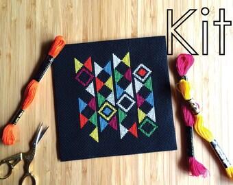 Cross stitch kit, neon, modern embroidery diy kit