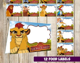 12 The Lion Guard Food Tent Cards instant download, Printable The Lion Guard Labels, The Lion Guard food Table Label