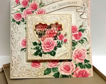 Valentine Love Card Buzza-Cardozo Heart-to-Heart Honeycomb With Box Unused