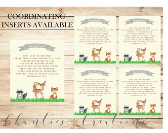 Woodland Baby Shower Bring a Book Instead of a Card Invitation Inserts - - Woodland Baby Shower Gender Neutral - Instant Download