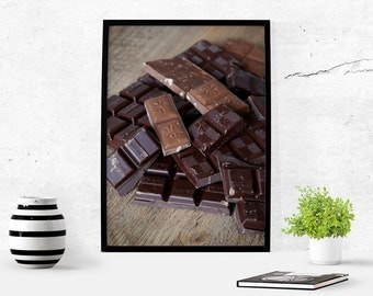 Chocolate Food Art Photography Download Digital Art Download Kitchen Art Wall Art Food Lover Food Photography Printable Chocolate Poster