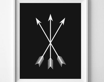 Black And White Print Tribal Print Fall Wall Art Black Arrow Art