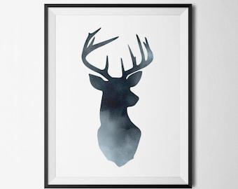 Deer Head Print, Black Deer, Black Watercolor, Deer Wall Art, DIY Printable, Scandinavian Poster, Deer Artwork, Deer Antlers Wall Art