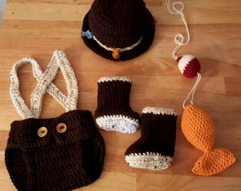 Crochet Baby Fisherman Outfit.. Great Photo Prop!
