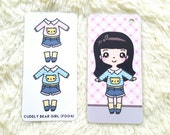 F004 | CUDDLY BEAR GIRL KeenaDolls Dress-up stickers, fashion stickers, cute stickers, style stickers, sticker book covers, binder
