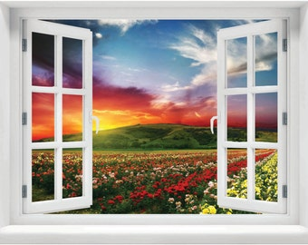 Window with a View Field of Roses Wall Mural