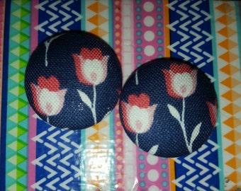 Flower Print Button Earrings