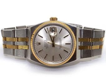 Vintage Men's Rolex DateJust 18k Yellow Gold Steel Oysterquartz Watch 17013