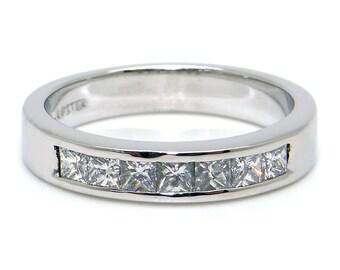 Platinum .25ct Princess Cut Diamond 3.5mm Wedding Band Stack Ring Size 6