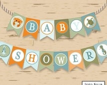 Ocean Theme Baby Shower Banner Nautical Beach Party Printables DIY Printable INSTANT DOWNLOAD OC01