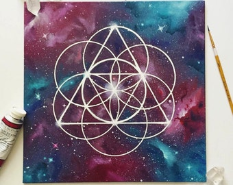 Sacred Geometry Art - Crystal Healing - Crystal Grid - Space Art - Space Painting - Spray Paint Art - Oil Painting - Wall Art - Spiritual