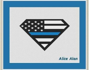 Cross Stitch Pattern Emblem of Police Logo Cross Stitch Pattern/Instant Download Epattern PDF File