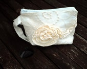 White Linen and Lace Make Up Bag,Zipper Pouch,Cosmetic Bag,Handmade, White Lace,Women,Organize