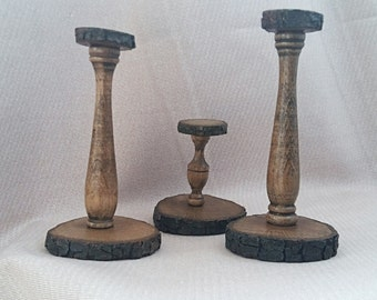 Wooden Candleholders, Candle holder stick, Pillar candle stick holder, Candlestick, Set of 3 wooden candleholders, Shabbat candlestick,