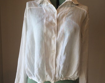 White Striped Edwardian Shirt | Sheer 1910s Blouse