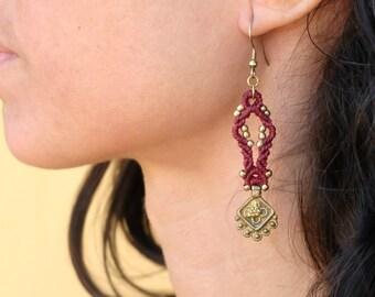 Macrame earrings hand made , just waxed thread & brass beads!!