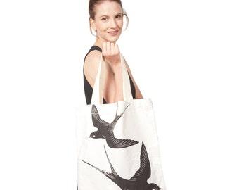 Cotton Canvas Birds Tote Bag