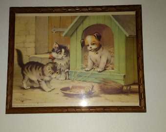 french Antique / old framed print advertising 'oil table of the Carthusians' / dog and cats