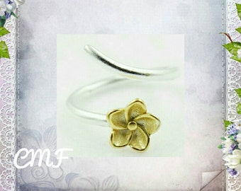 Flower Ring Handmade 925 Sterling Silver Ring Adjustable Ring (002)