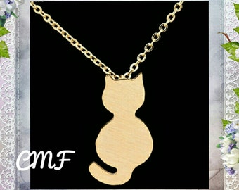 Cat Necklace Gold Necklace Cat Pendant (005)