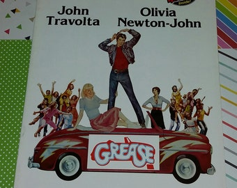 Vintage 1978 Grease Movie Program (w/ soft Vinyl Soundtrack)