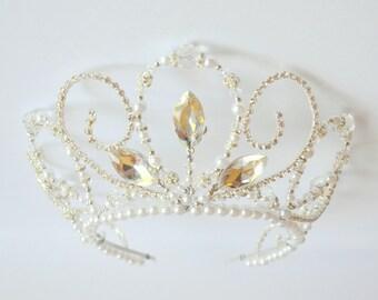 Silver rhinestone handmade crystal tiara, white pearl tiara, bridal tiara, ballet tiara, prom queen tiara, wedding tiara, hens tiara