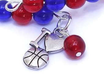 Basketball Mom Charm Bracelet - I Love Basketball Team Spirit Jewelry