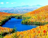 """Fall foliage, VT scenic, Autumn colors, Kettle Pond, Groton State Forest, Fall panoramic, for nature lovers, Title: """"Kettle Pond Overlook"""""""