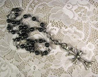 Anglican Prayer Beads-Rosary-Hematite and Quartz-Hand Wired-Pewter Cross