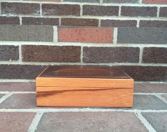 Ebiara and walnut keepsake box; jewelry box; wooden keepsake box